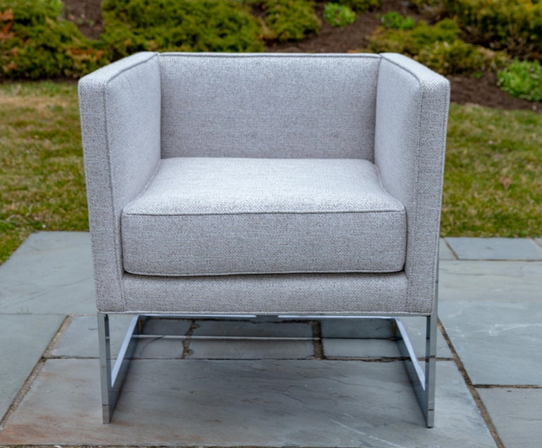 Pair of chrome cubic frame upholstered armchairs in the style of Milo Baughman.