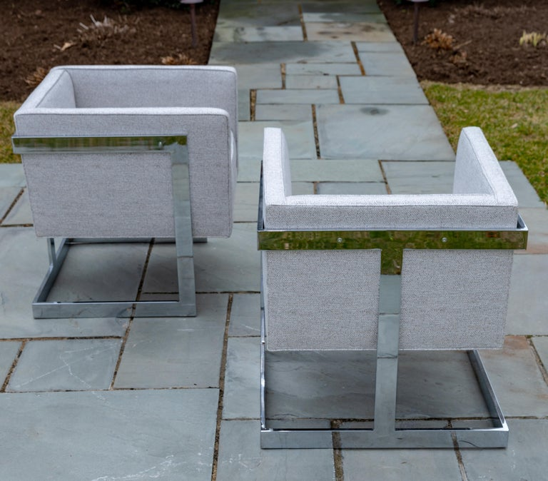 Pair of Chrome Cubic Frame Upholstered Armchairs In Good Condition For Sale In Bridgehampton, NY