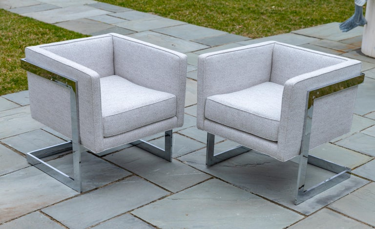 20th Century Pair of Chrome Cubic Frame Upholstered Armchairs For Sale