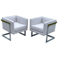 Pair of Chrome Cubic Frame Upholstered Armchairs