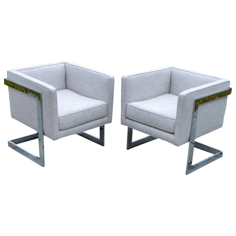 Pair of Chrome Cubic Frame Upholstered Armchairs For Sale