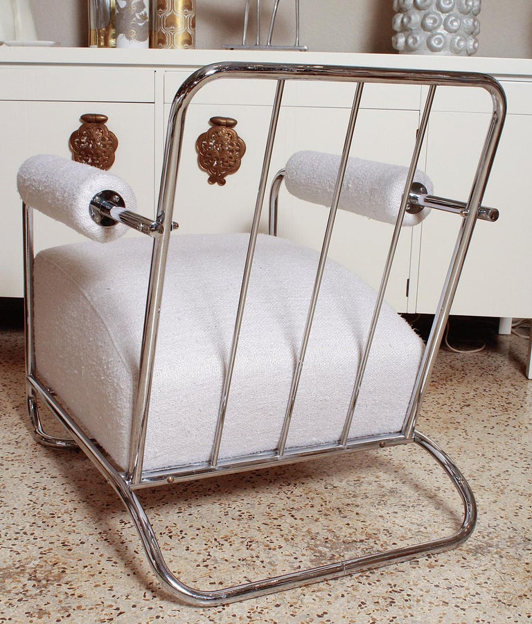 Pair of Chrome Deco Lounge Chairs by Gilbert Rohde for Troy Sunshade, circa 1935 For Sale 5