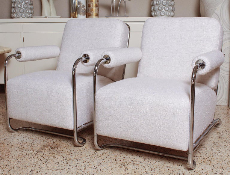 Art Deco Pair of Chrome Deco Lounge Chairs by Gilbert Rohde for Troy Sunshade, circa 1935 For Sale
