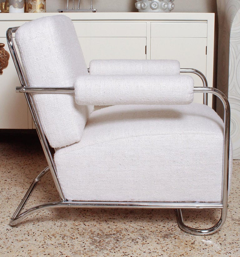 Plated Pair of Chrome Deco Lounge Chairs by Gilbert Rohde for Troy Sunshade, circa 1935 For Sale