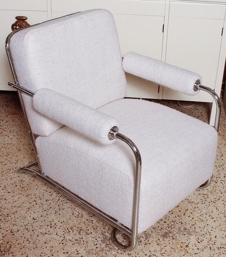 Pair of Chrome Deco Lounge Chairs by Gilbert Rohde for Troy Sunshade, circa 1935 In Good Condition For Sale In North Miami, FL