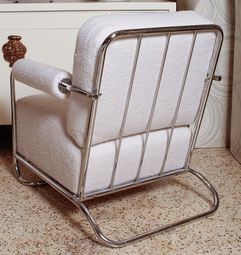 Mid-20th Century Pair of Chrome Deco Lounge Chairs by Gilbert Rohde for Troy Sunshade, circa 1935 For Sale