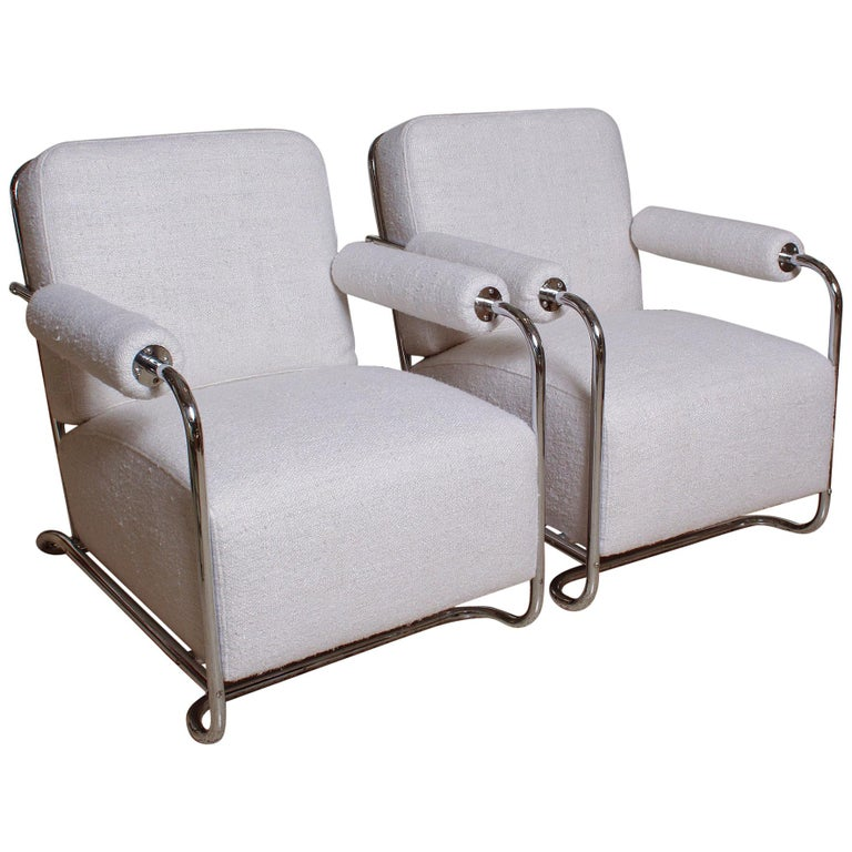 Pair of Chrome Deco Lounge Chairs by Gilbert Rohde for Troy Sunshade, circa 1935 For Sale