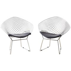 Pair of Chrome Diamond Chairs after Harry Bertoia