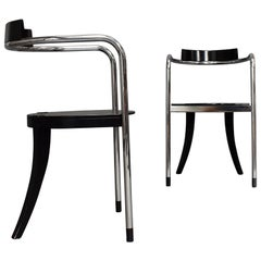 Pair of Chrome Dining Armchairs by David Palterer for Zanotta, Italy, 1987