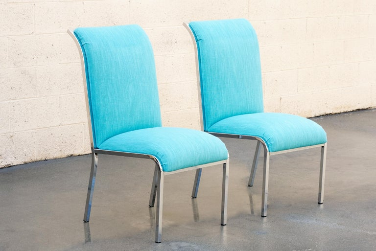Pair of Mid-Century Modern chrome dining chairs by Milo Baughman for Design Institute of America,