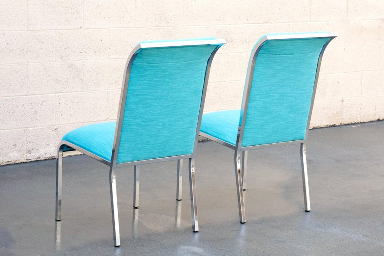 Pair of Chrome Dining Chairs by Milo Baughman for Design Institute of America In Good Condition For Sale In Alhambra, CA