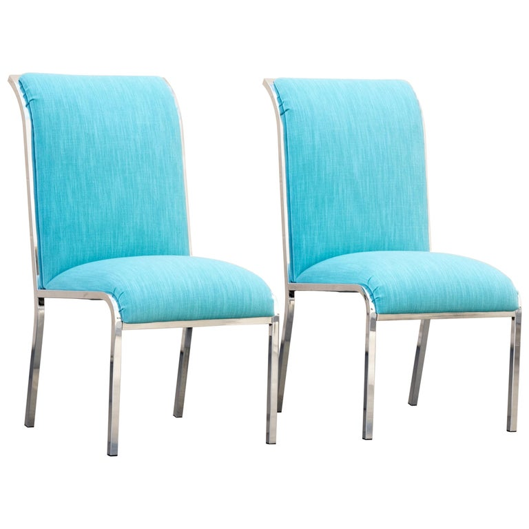 Pair of Chrome Dining Chairs by Milo Baughman for Design Institute of America For Sale