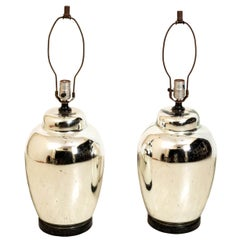 Pair of Chrome Finish Table Lamps