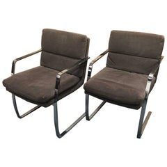 Pair of Chrome Framed Cantilevered Armchairs by Pace Collection