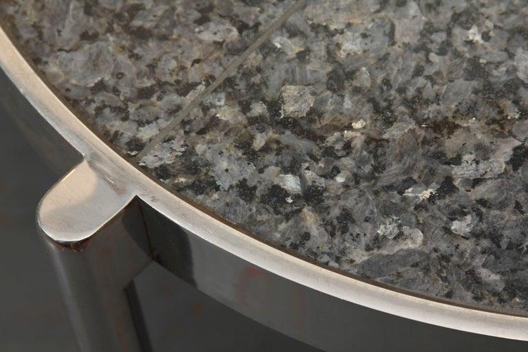 Pair of Chrome Framed Granite Top Tables For Sale 1
