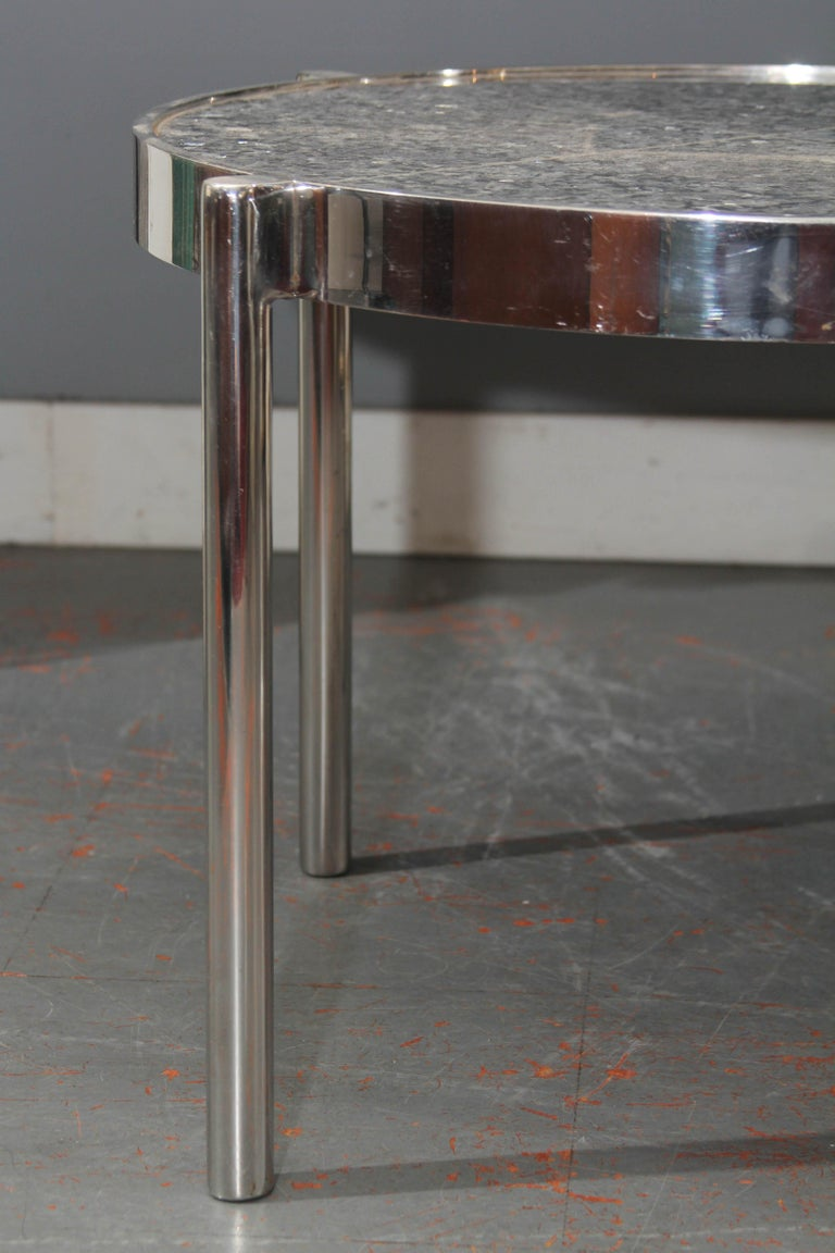 Pair of Chrome Framed Granite Top Tables For Sale 2