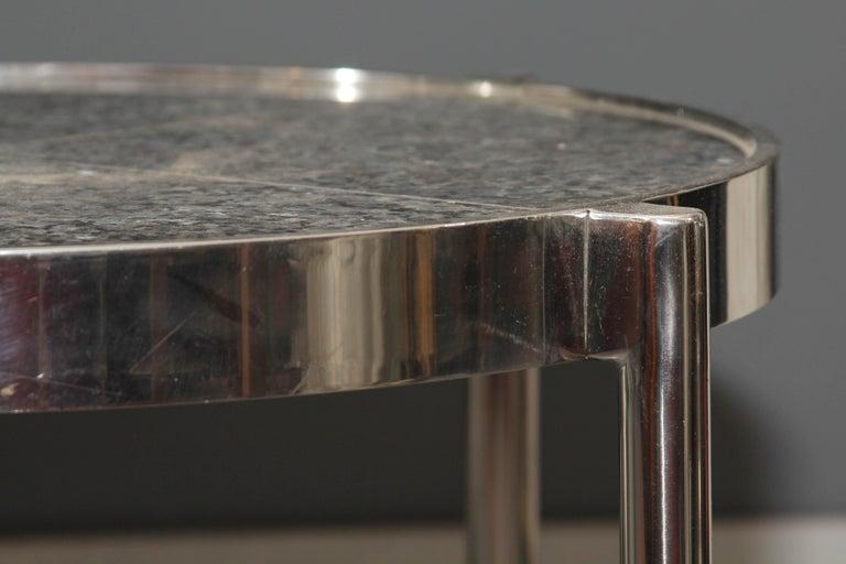 Pair of Chrome Framed Granite Top Tables For Sale 3