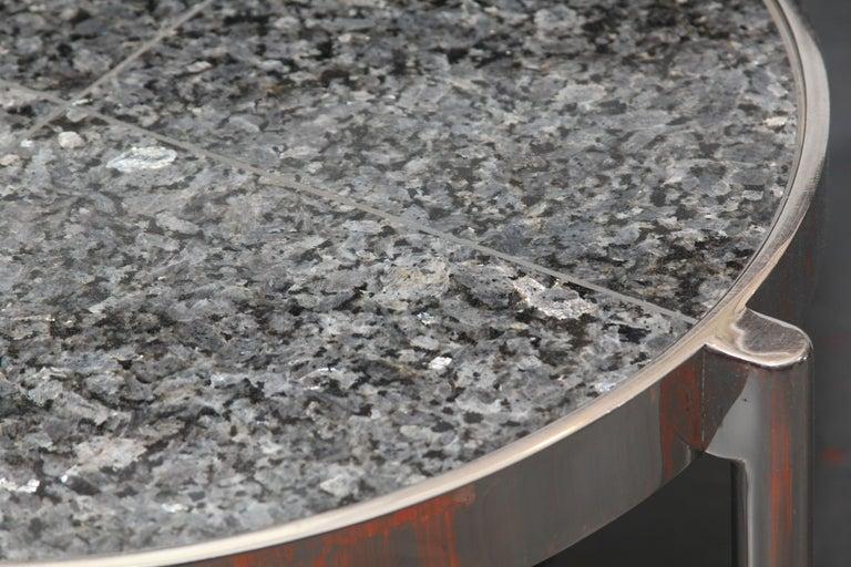 Pair of Chrome Framed Granite Top Tables For Sale 4