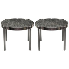 Pair of Chrome Framed Granite Top Tables