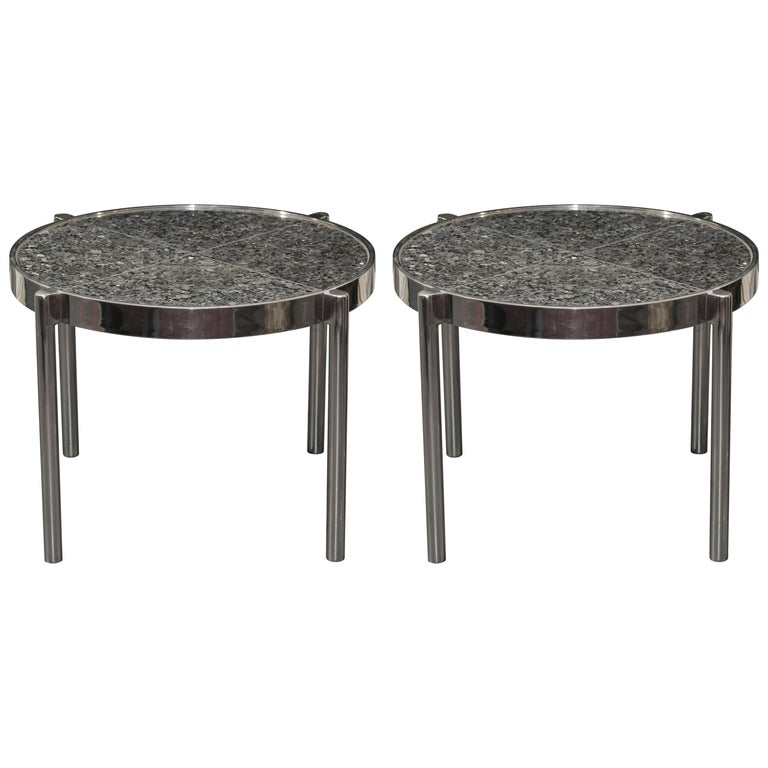 Pair of Chrome Framed Granite Top Tables For Sale