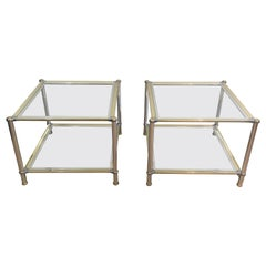 Pair of Chrome, Gilt and Silver Metal Side Tables, French, circa 1970