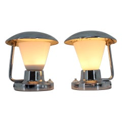 Pair of Chrome Glass Bauhaus Table Lamps, 1930s