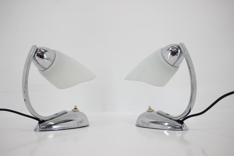 Mid-Century Modern Pair of Chrome Glass Design Midcentury Table Lamps, 1950s For Sale