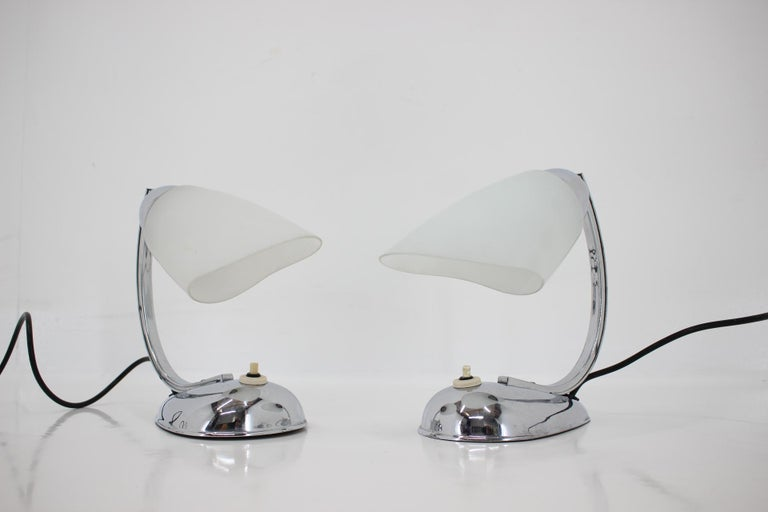 Czech Pair of Chrome Glass Design Midcentury Table Lamps, 1950s For Sale