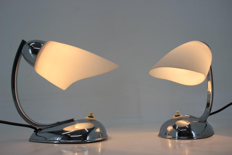 Mid-20th Century Pair of Chrome Glass Design Midcentury Table Lamps, 1950s For Sale
