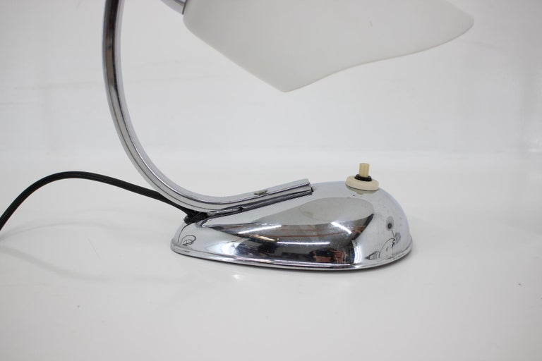 Pair of Chrome Glass Design Midcentury Table Lamps, 1950s For Sale 1