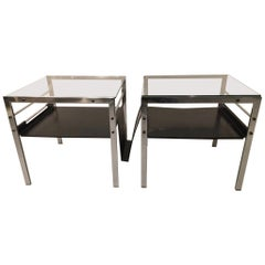 Pair of Chrome and Glass Side Tables by Willy Guhl, Switzerland, circa 1962