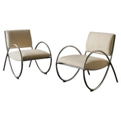 Pair of Chrome Loop Armchairs with Ivory Boucle