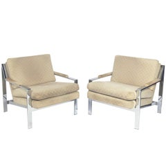 Pair of Chrome Lounge Chairs by Cy Mann