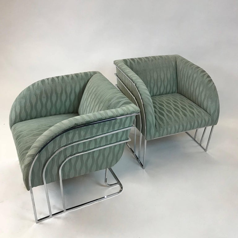 American Pair of Chrome Lounge Chairs By George Mergenov  For Sale