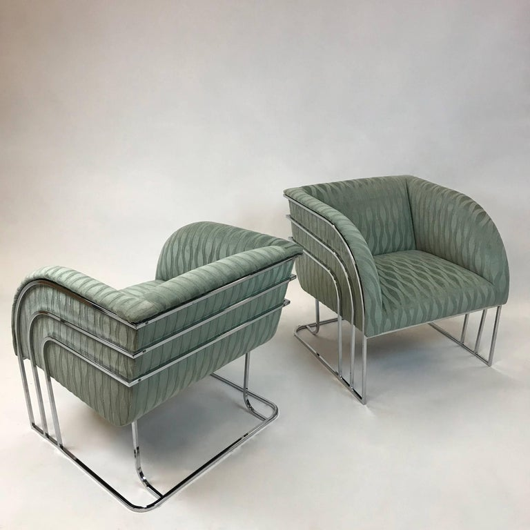Pair of Chrome Lounge Chairs By George Mergenov  In Good Condition For Sale In Brooklyn, NY