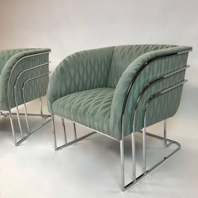20th Century Pair of Chrome Lounge Chairs By George Mergenov  For Sale