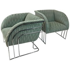 Pair of Chrome Lounge Chairs By George Mergenov