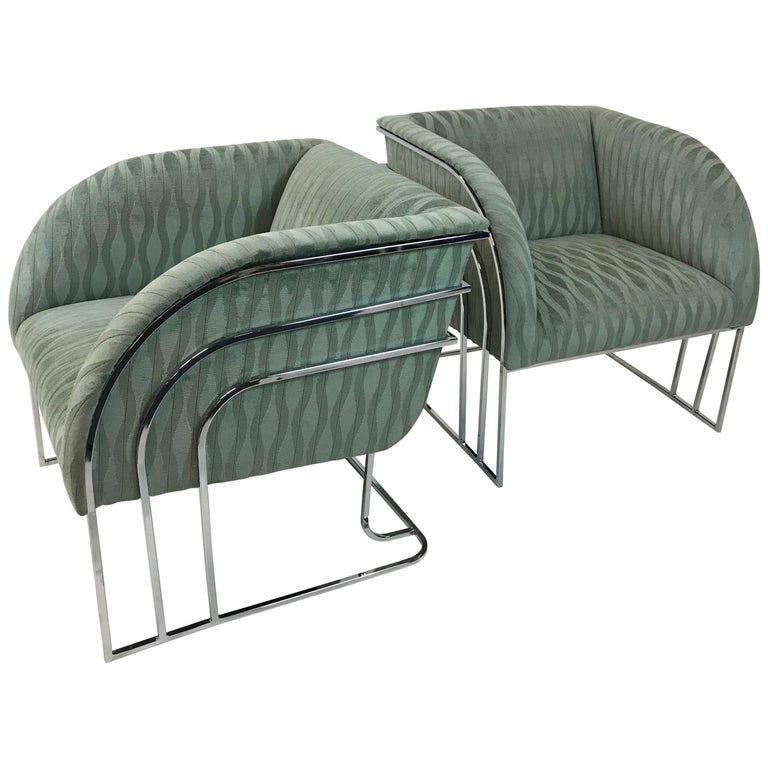 Pair of Chrome Lounge Chairs By George Mergenov  For Sale