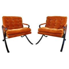 Pair of Chrome Lounge Chairs in Style of Milo Baumann