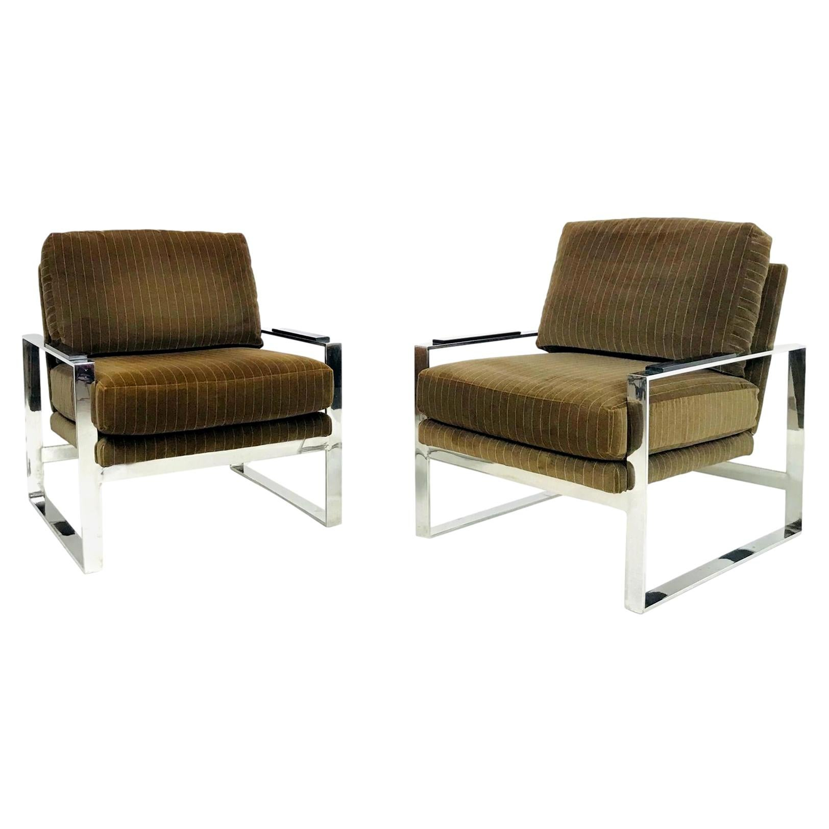 Pair of Chrome Lounge Chairs in the style of Milo Baughman