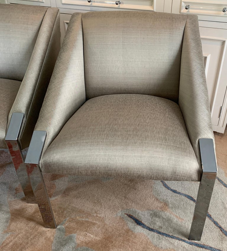 Polished Pair Andree Putman Chrome Modern Lounge Side Chairs in Silk Upholstery For Sale