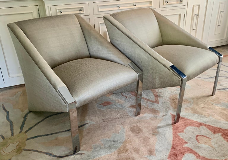 Pair Andree Putman Chrome Modern Lounge Side Chairs in Silk Upholstery For Sale 1