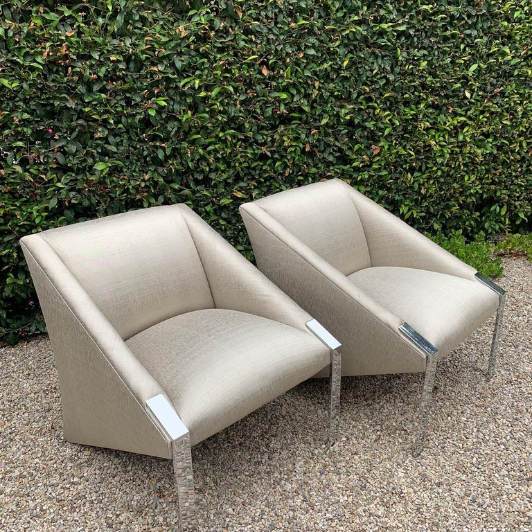 Pair Andree Putman Chrome Modern Lounge Side Chairs in Silk Upholstery For Sale 2