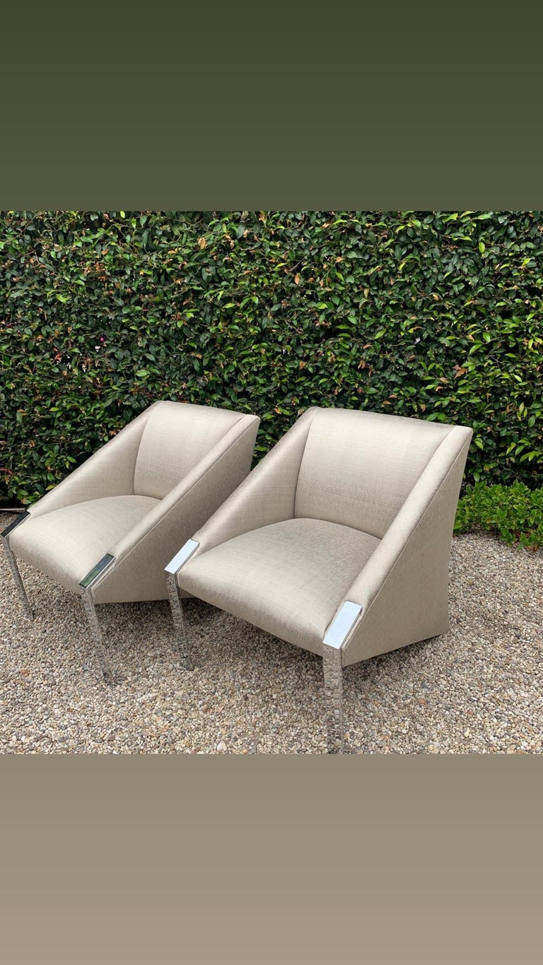 Pair Andree Putman Chrome Modern Lounge Side Chairs in Silk Upholstery For Sale 3