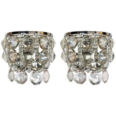 Pair of Chrome Metal and Crystal Glass Sconces by Bakalowits & Sohne, circa 1960