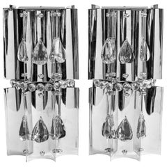 Pair of Chrome Metal and Czech Crystal Sconces, Italy, circa 1970