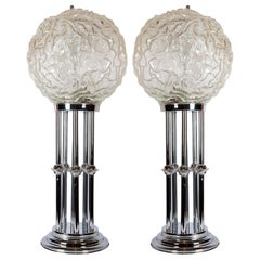 Pair of Chrome Metal and Glass Table Lamps, Italy, circa 1980