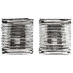 Pair of Chrome Metal and Murano Glass Sconces, Italy, circa 1950