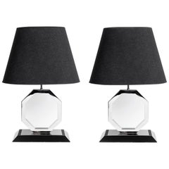 Pair of Chrome Metal and Wood Table Lamps. Italy, circa 1970