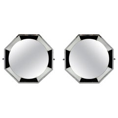 Pair of Chrome Metal Mirrors, Art Deco Period, France, circa 1940